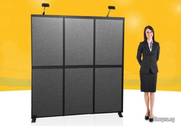 Portable Exhibition Folding Display : Portable black and grey folding panel portable display panel